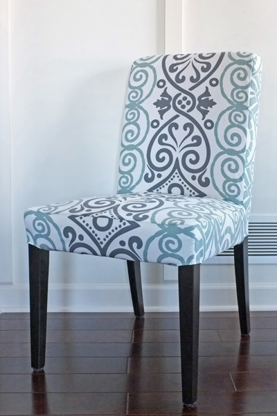 Tablecloth turned into chair slipcover