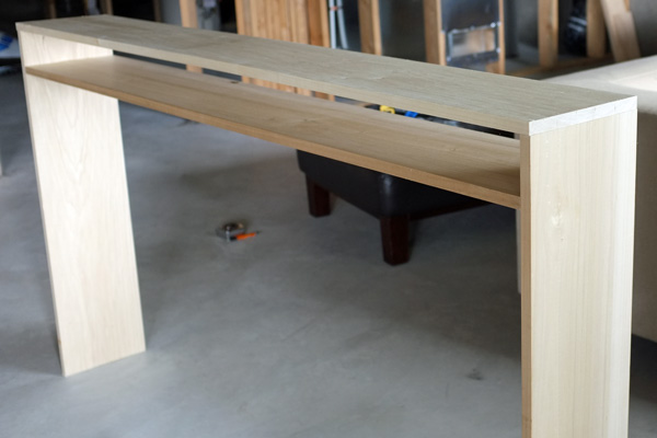 Finished console table