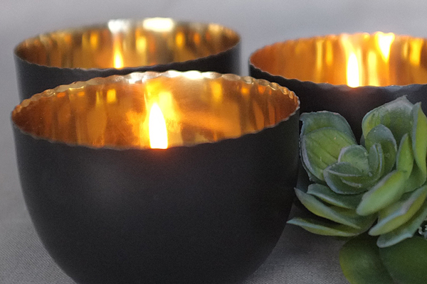 steel and gold lined votives