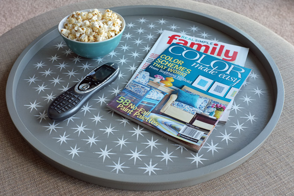 Stenciled Tray in Family Room