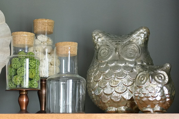 Pair of Mercury Glass Owls