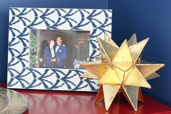 Patterned Picture Frame and Gold Leaf Star