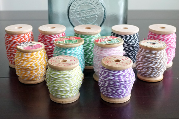 Baker's Twine stored on vintage wooden spools