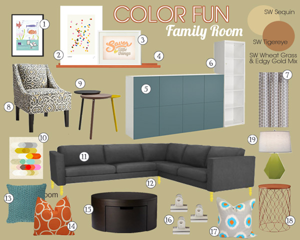 Colorful Family Room Mood Board