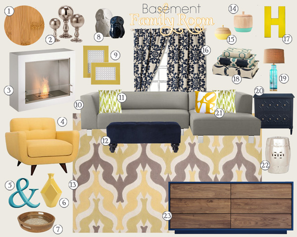 Yellow & Navy Family Room