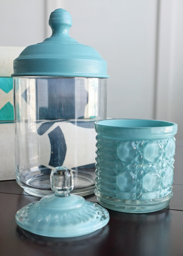 Painted Glass Canisters