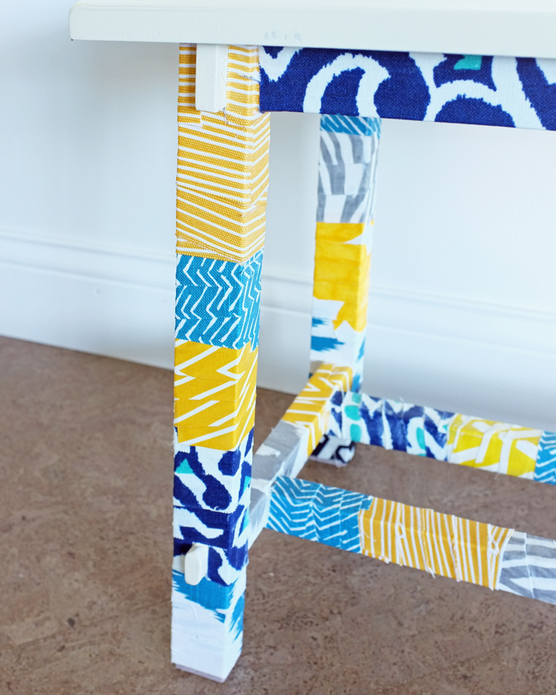 DIY Fabric Wrapped Bench