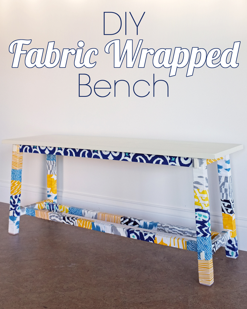 DIY Fabric wrapped bench tutorial using only fabric scraps and decoupage glue.