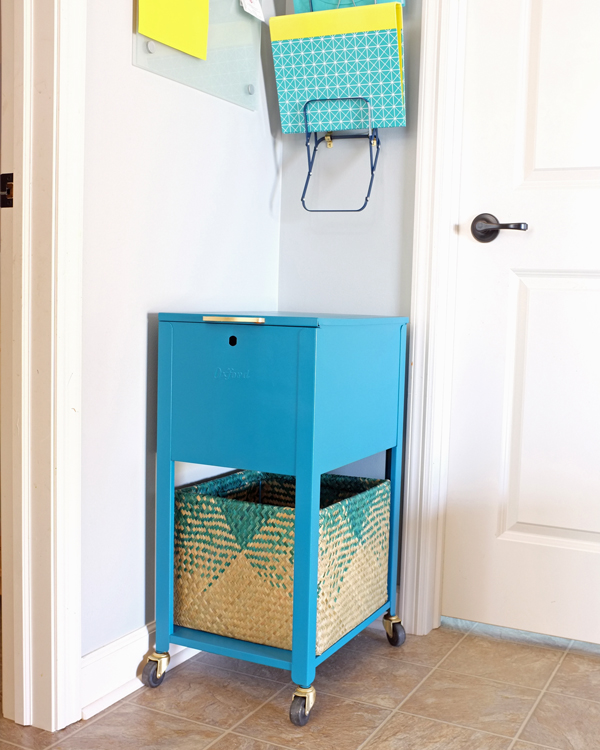 Teal Rolling File Cabinet