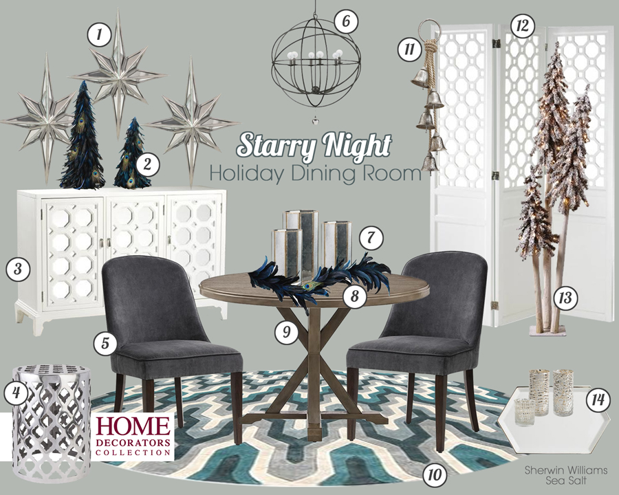 Glamorous Holiday Dining Room Mood Board from the Home Decorators Collection