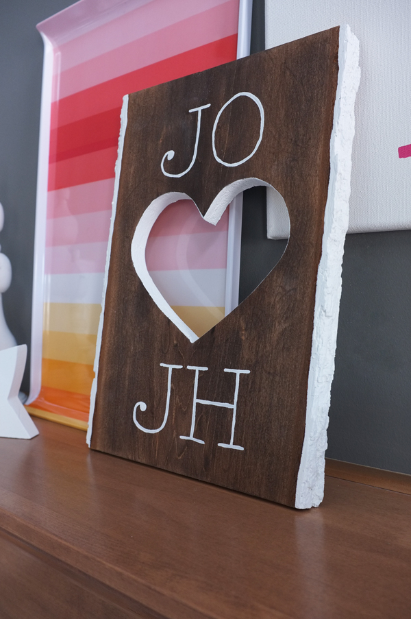 DIY Valentine Heart Cut-Out Plaque | tealandlime.com