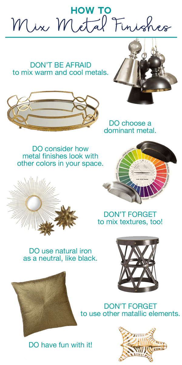 How to mix metal finishes for decorating