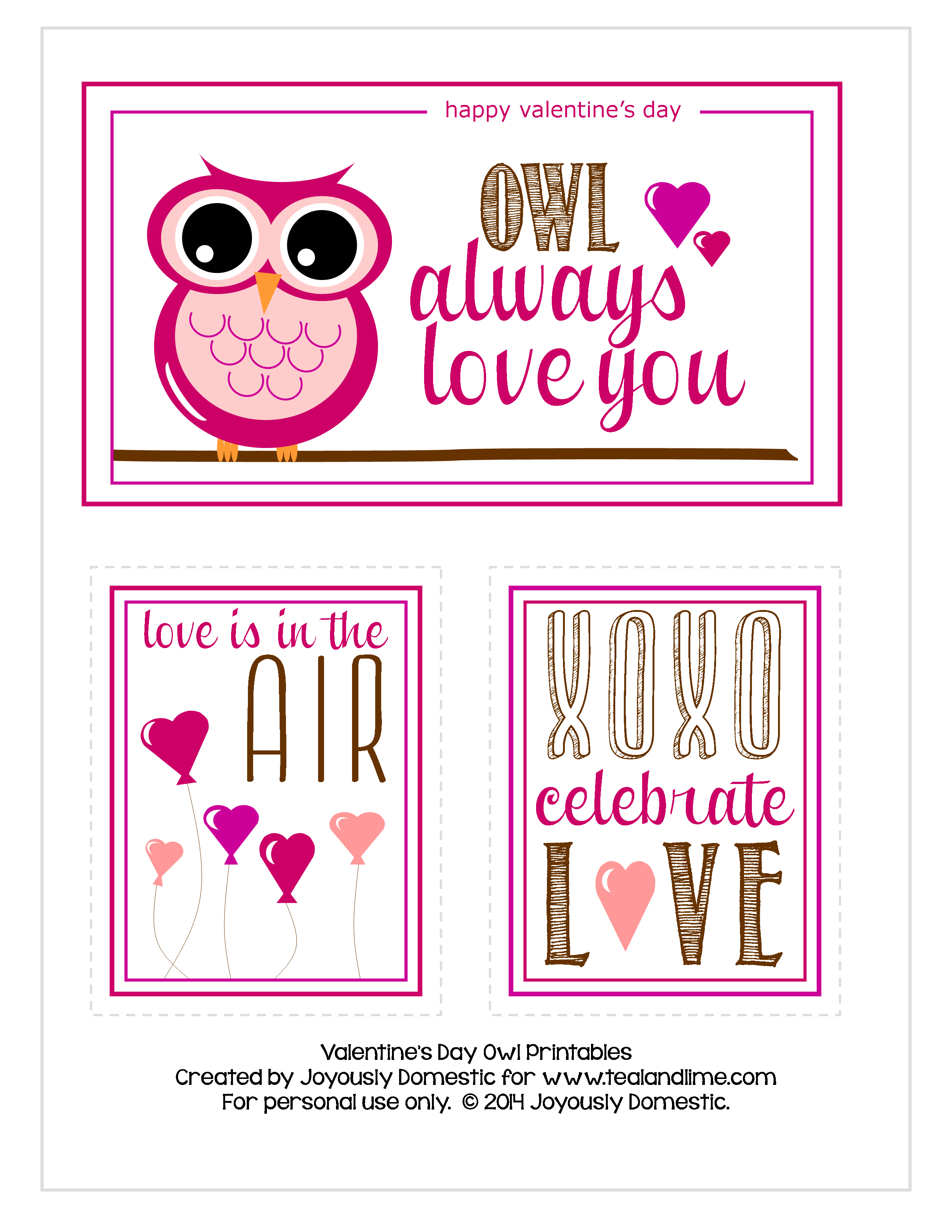 Free Valentine's Day Owl Printable | Joyously Domestic for tealandlime.com