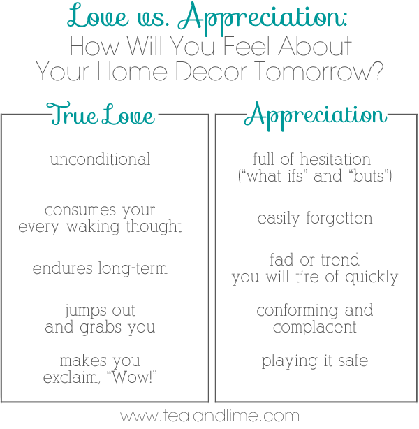 How to spot the difference between home decor you love vs appreciate | tealandlime.com