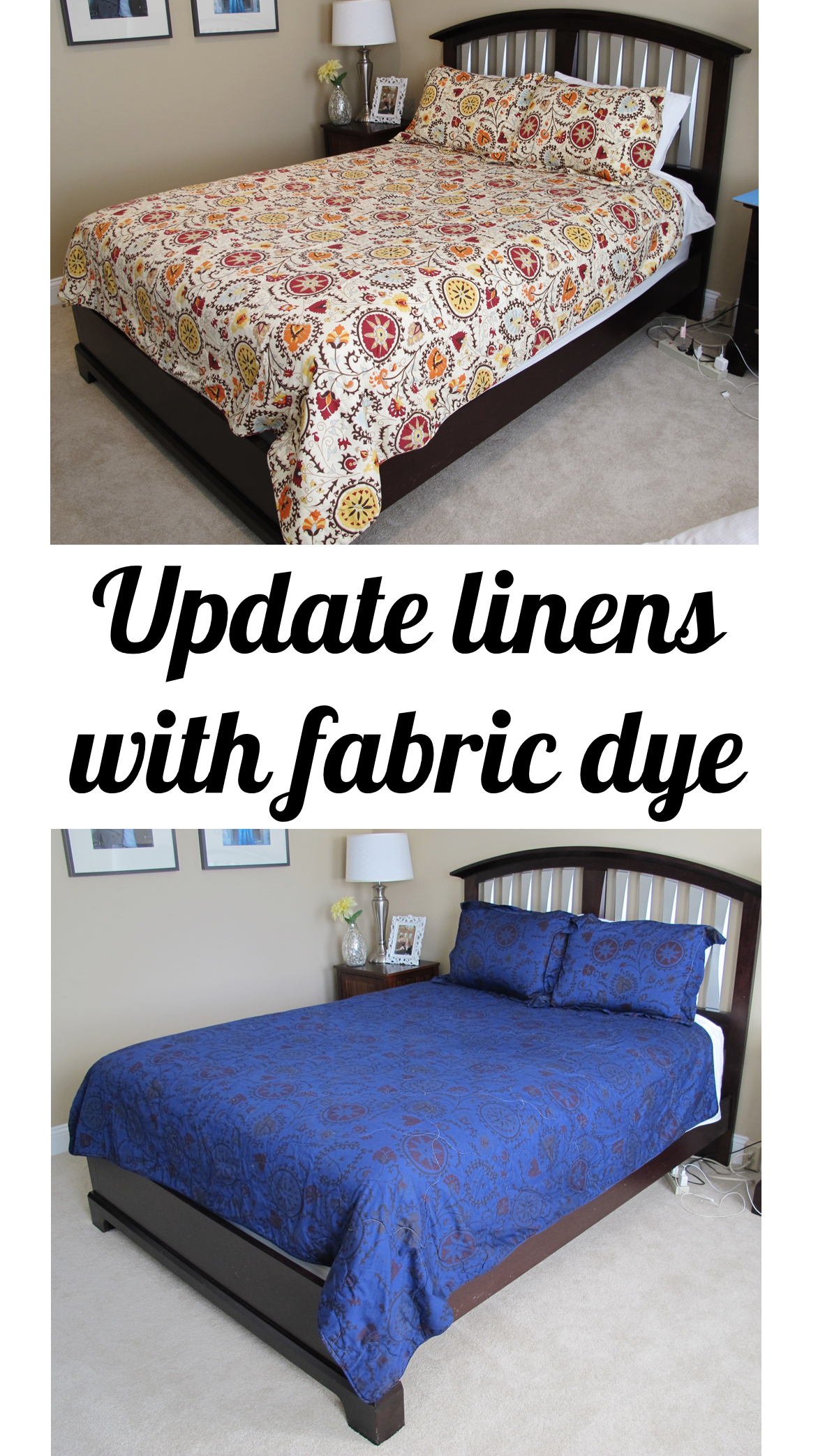 How to Overdye a Bedspread or a New Look | Bonnie Projects for tealandlime.com