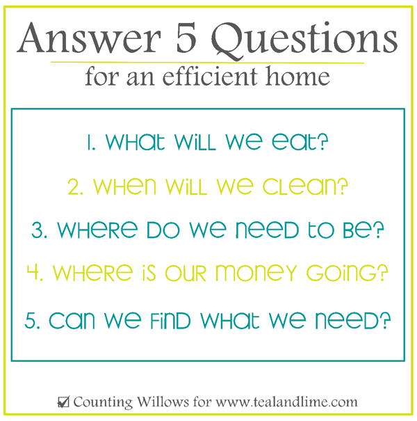 5 Keys to an Efficient Home |Counting Willows for www.tealandlime.com
