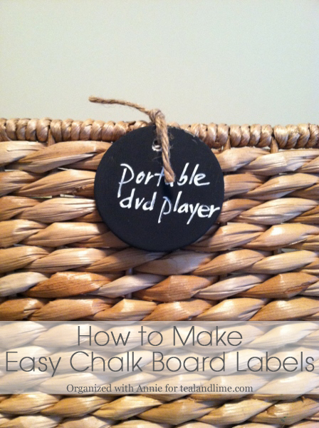 How to Make Chalk Board Basket Labels | tealandlime.com
