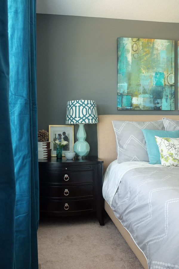 Love these Ikea Sanela dark turquoise curtain panels. So beautiful during the day and at night they make the room pitch black.