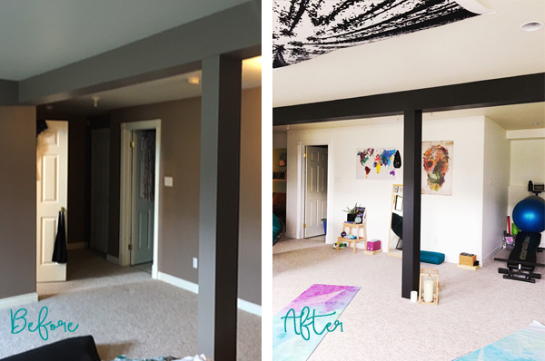 Check out this incredible basement makeover. She turned her dark, boring basement into a beautiful, light, and inspiring yoga workout space. Click through to see more pictures.