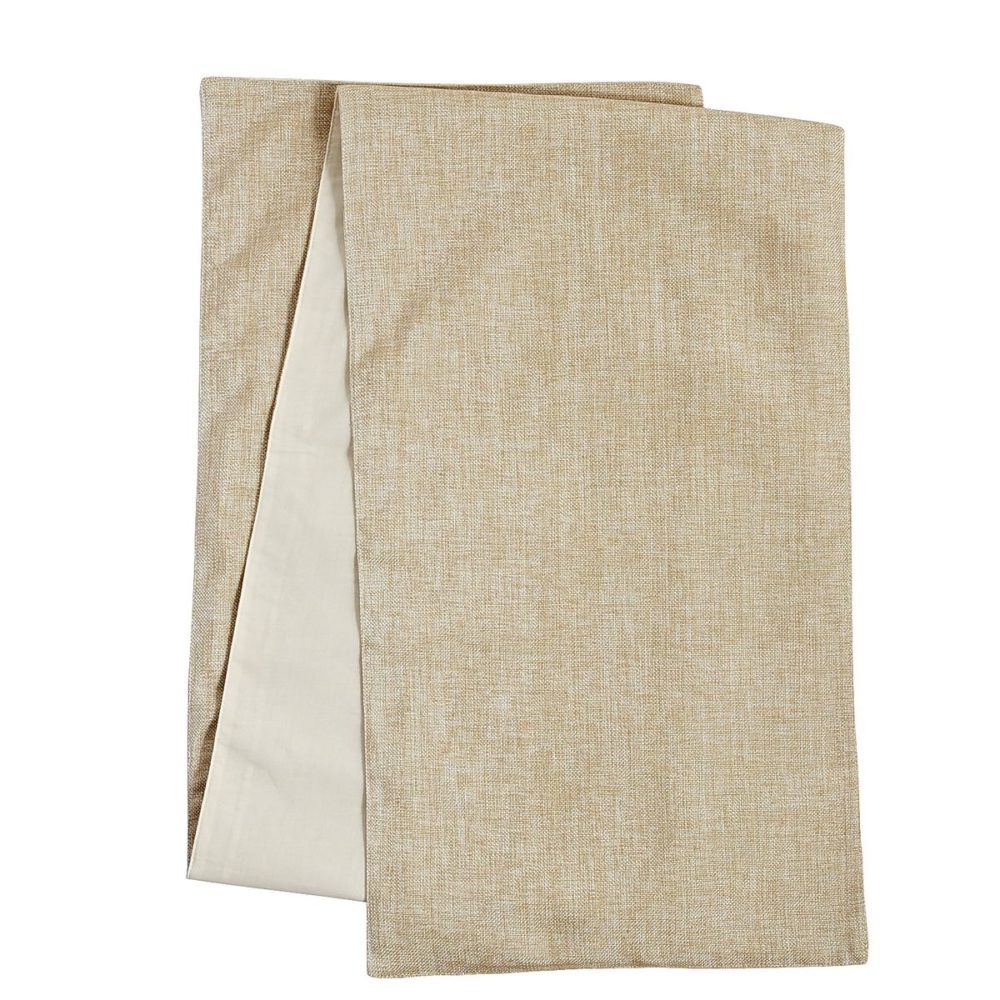 Add a subtle metallic sheen to your dining table with this Woven Champagne Table Runner