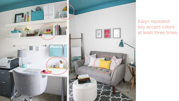 This colorful home office is a great example of how to repeat accent colors for decorating.