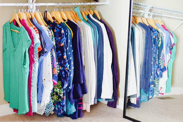 My closet after a major decluttering effort—I got rid of all the clothes I no longer wear. Now, every time I go into my closet, I'm excited to pick out an outfit.