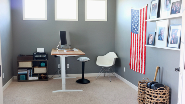 I redesigned my home office around my new AMAZING standing desk. I love the flexibility I have now to work in any position I want.