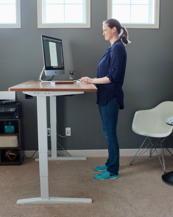 "I love my new standing desk. This one adjusts from 24.5"" to 50.5"" which is perfect for a tall girl like me. Bonus: It's one of the most affordable standing desks available."