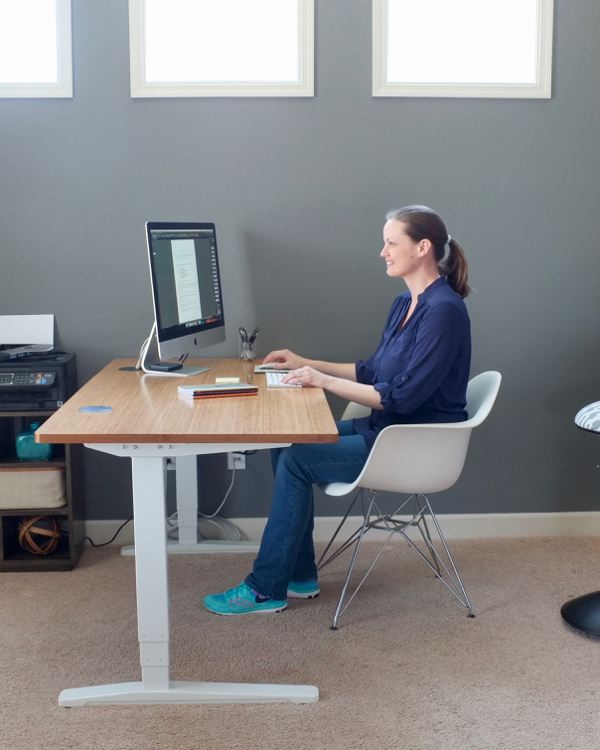 Sitting on an active stool helps you to maintain proper posture, because it's nearly impossible to slouch, especially in our lumbar spine, when sitting perched on the edge of a tilted stool. And just like the balance pad for standing, an active stool keeps your muscles firing and active to maintain balance. It's good formaintaining strong postural muscles.