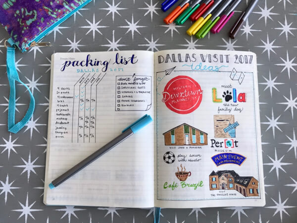 I'm using my bullet journal to keep my packing list and outing ideas for a weekend trip to visit family in Dallas.