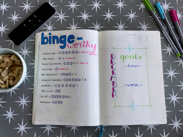 Binge-worthy TV Shows bullet journal layout to track seasons of TV shows