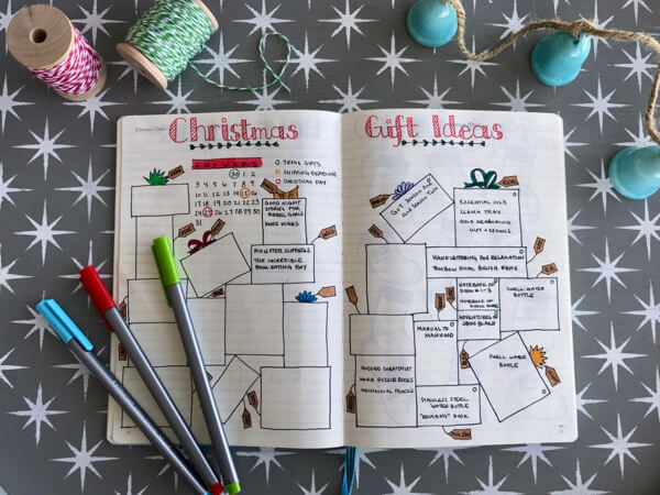 Bullet journaling Christmas gift ideas. Each present has a tag with the recipients name.