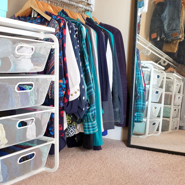 Store folded clothes in the closet with these inexpensive wire drawer units.