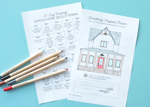 Take the 30-Day Whole Home Decluttering Challenge - get the free worksheet with this cute progress tracker