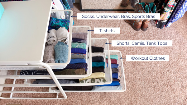 Use inexpensive wire drawer units for a pretty folded clothes storage solution - takes up hardly any space and can hold lots of clothes if you use the Konmari folding method