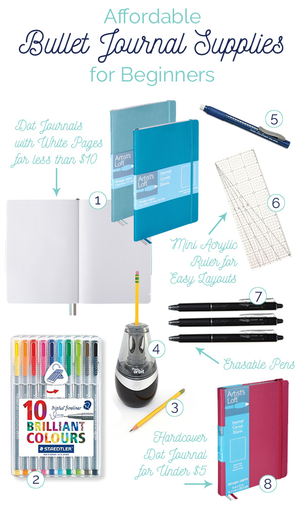 Affordable bullet journaling supplies for beginners, including where to find dot journals (even hardcover) for under $10!