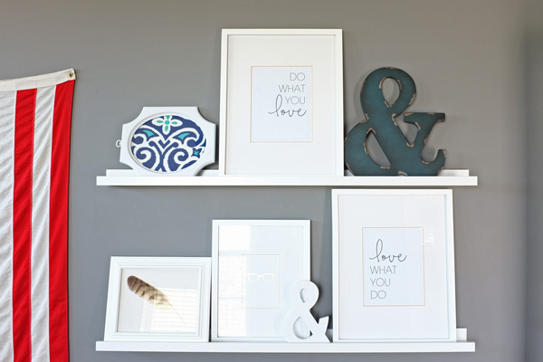 For home staging replace family photos with fabric, printable quotes, and found objects.