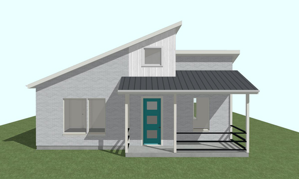 3D model of a midcentury modern house