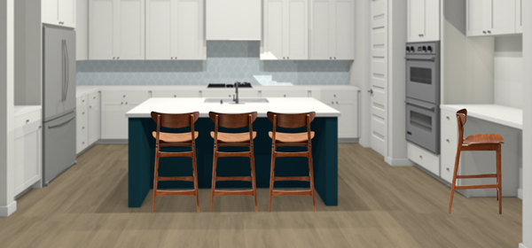 Classic walnut counter stools for a modern kitchen