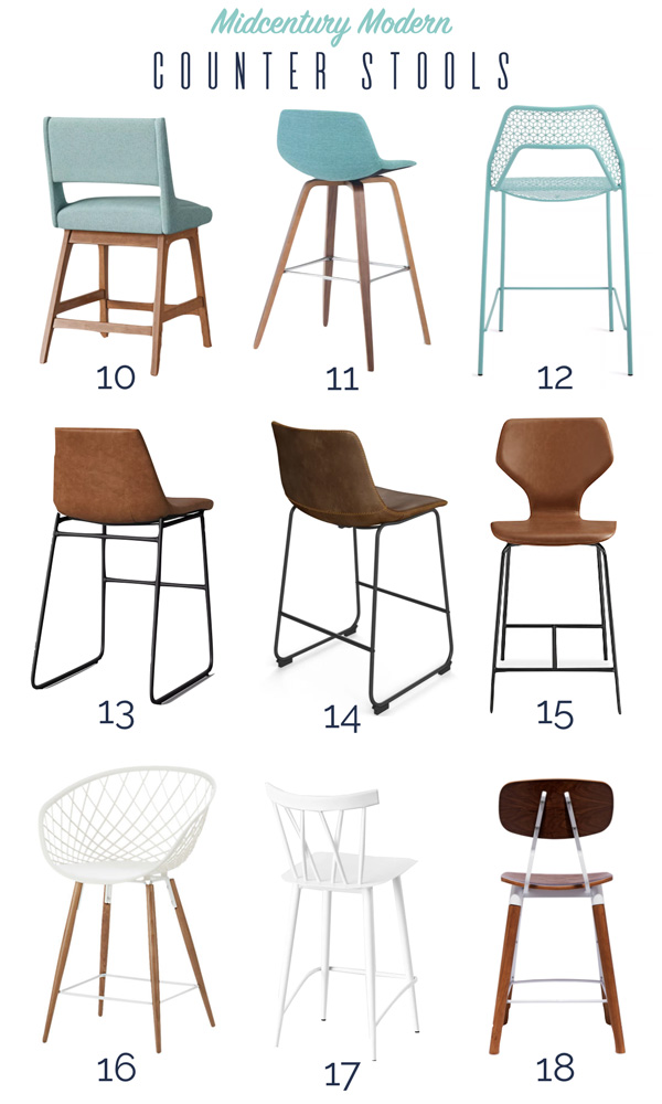 Fun roundup of midcentury modern counter stools
