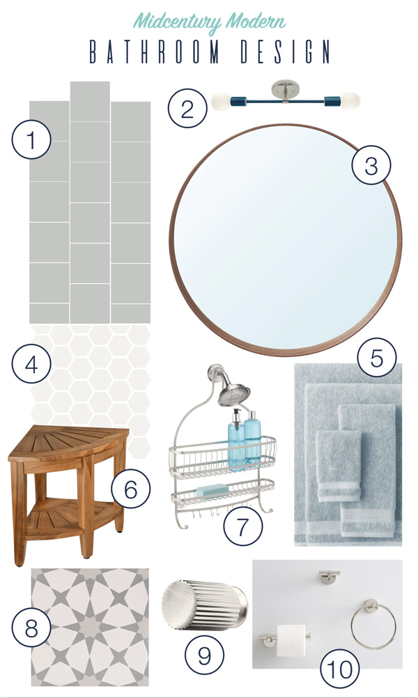 Midcentury modern bathroom design with budget-friendly tile and accessories