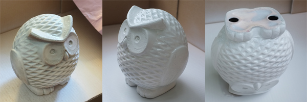 Ceramic Owl Spray Painting Process
