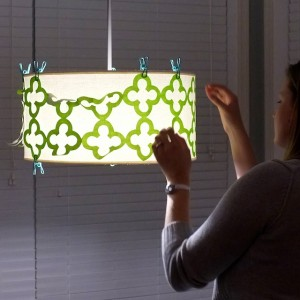 Preparing to applique a lampshade