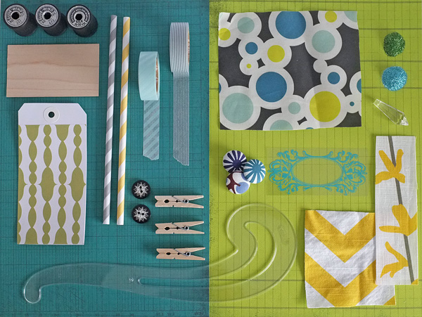 teal and lime blog mood board