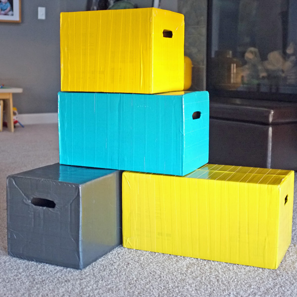 building blocks from reused diaper boxes