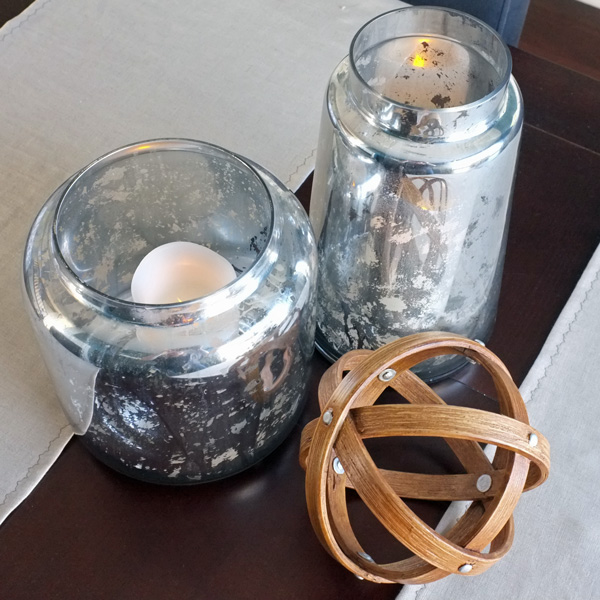 Mercury Glass Hurricane Candle Holders