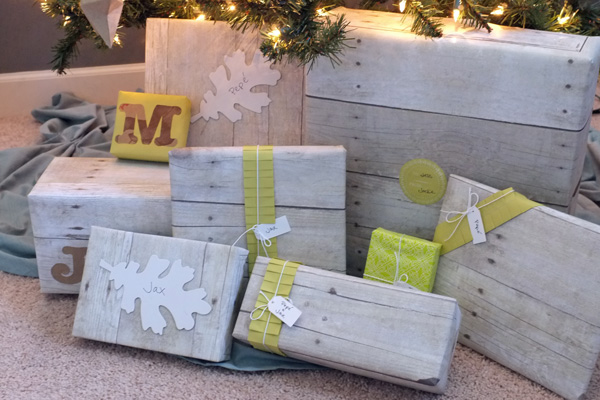 Driftwood and paper ruffle gift wrap