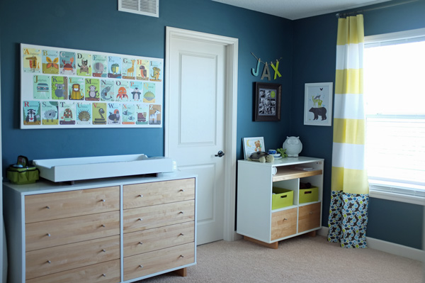 Modern teal and lime nursery