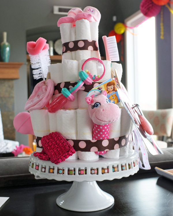 Diaper Cake Pink and Brown