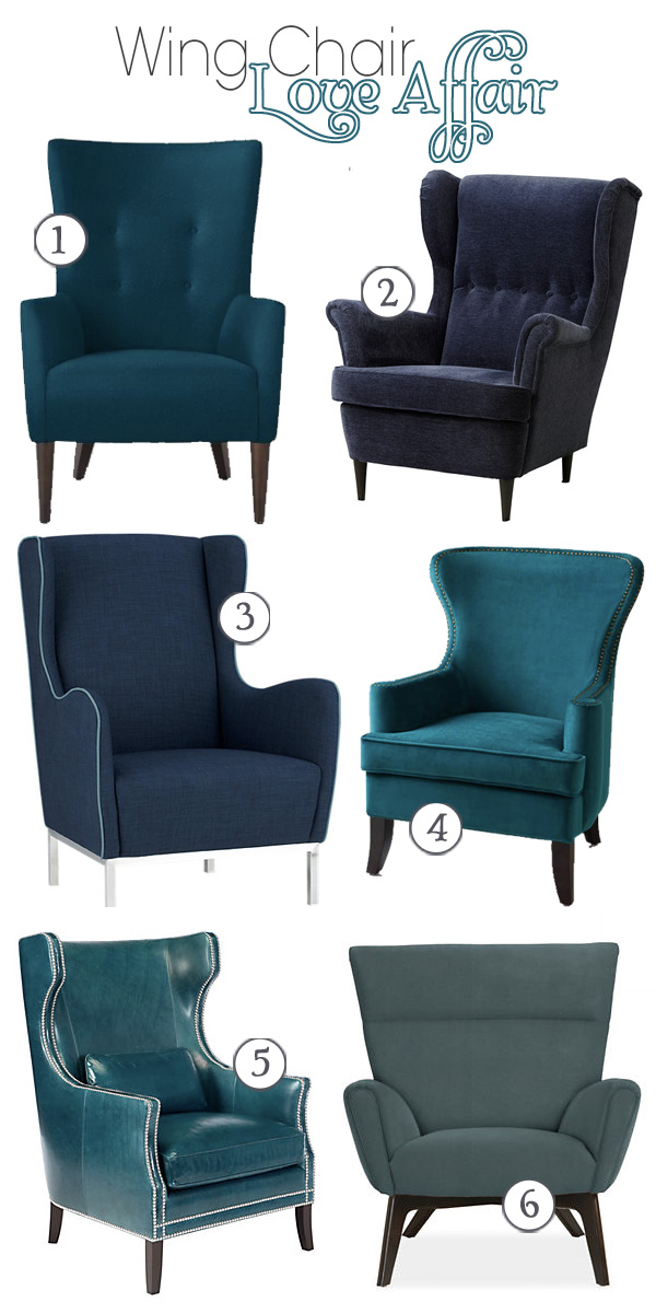 Modern Teal Wing Back chairs